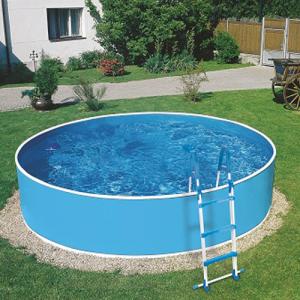 Stahlwandpool rund - Design Blau/Weiß