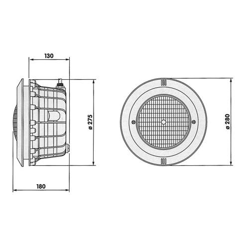 Freillufttraum Unterwasserscheinwerfer 300W Skizze